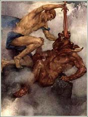 Theseus slaying the Minotaur of Crete